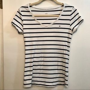 Tommy Hilfiger Striped White Short Sleeve Tee